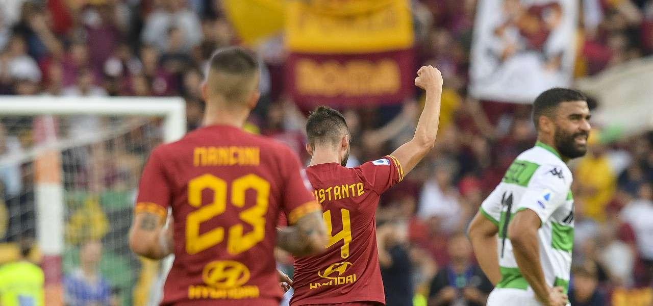 Cristante Mancini gol Roma Sassuolo lapresse 2020