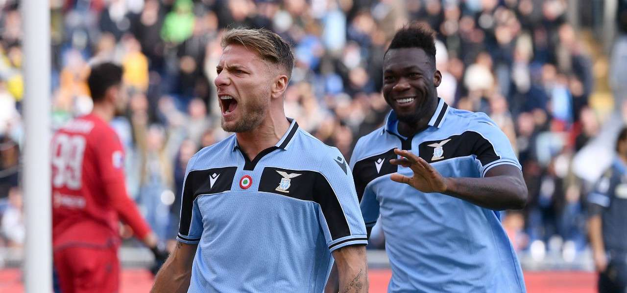 Immobile Caicedo gol urlo Lazio lapresse 2020