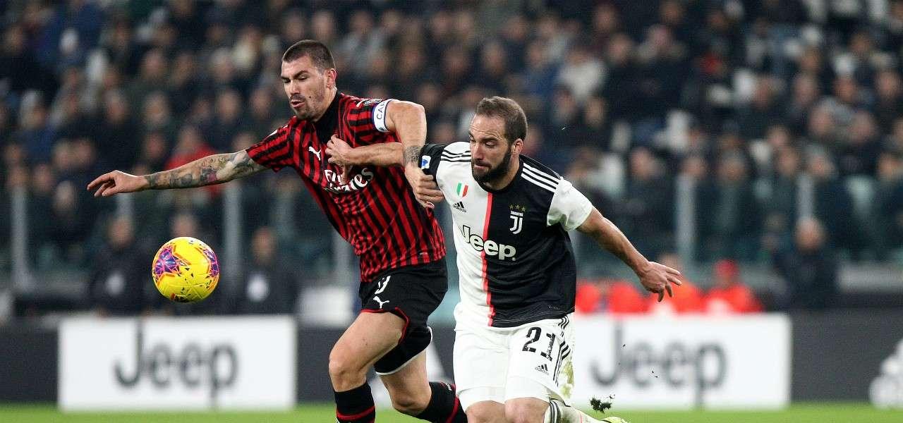 Alessio Romagnoli Higuain Milan Juventus lapresse 2020