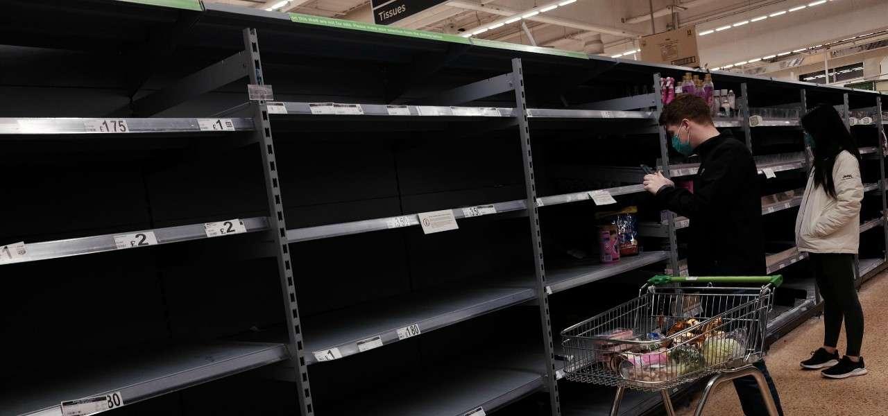 supermercato Londra vuoto lapresse 2020