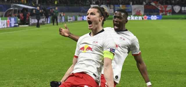 Marcel Sabitzer esultanza Lipsia Tottenham lapresse 2020 640x300