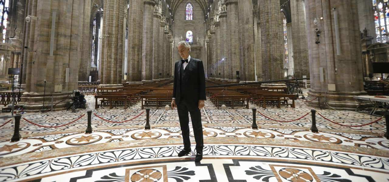 Andrea Bocelli Duomo lapresse 2020
