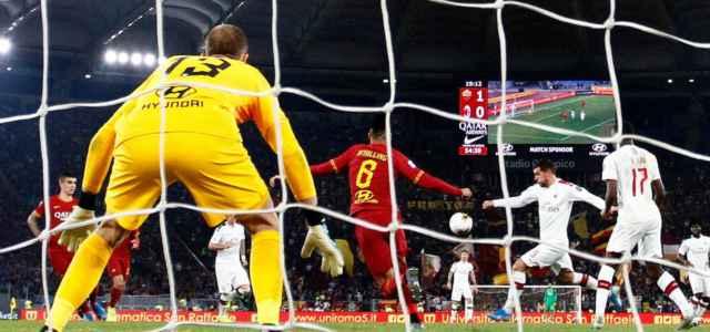 Theo Hernandez tiro Roma Milan lapresse 2020 640x300