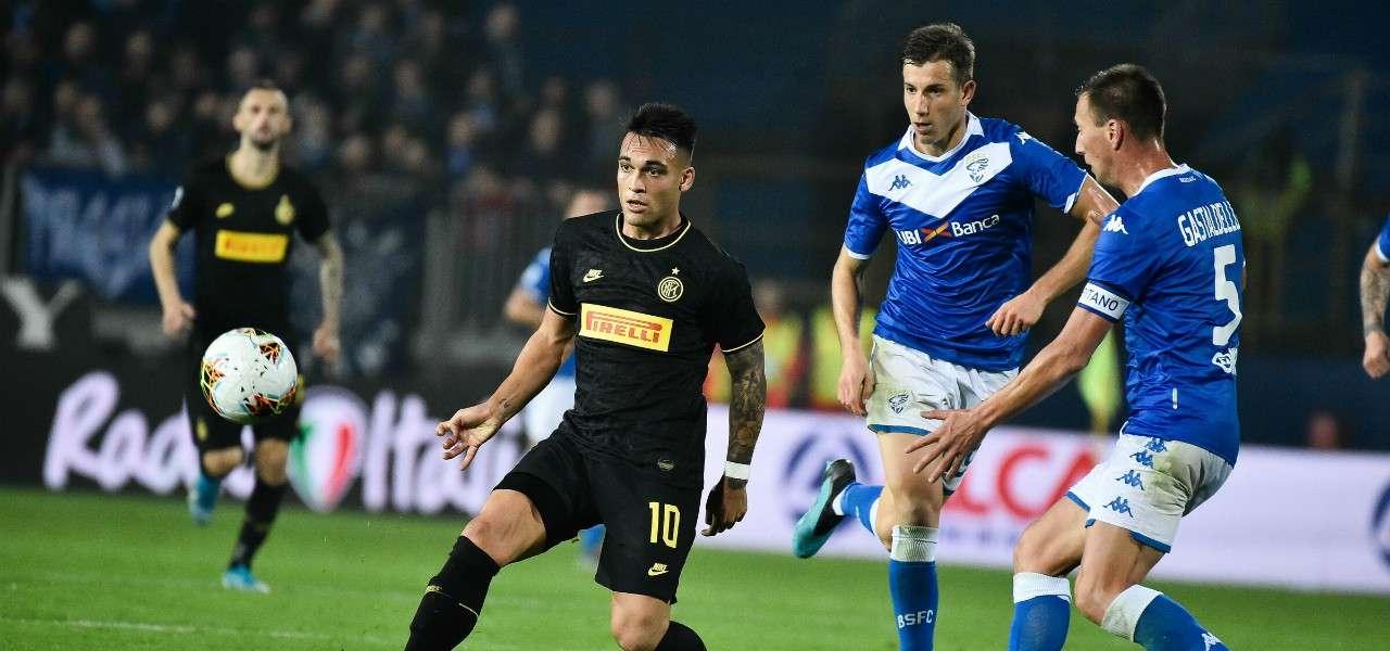 Lautaro Martinez Gastaldello Inter Brescia lapresse 2020