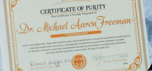 Un certificato di verginità dagli USA