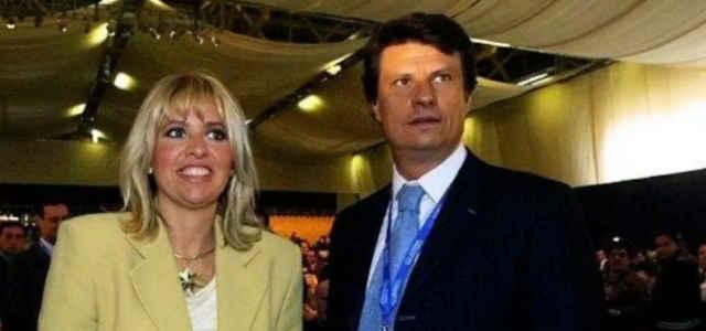 Alessandra Mussolini e il marito Mauro Floriani in una foto d'epoca