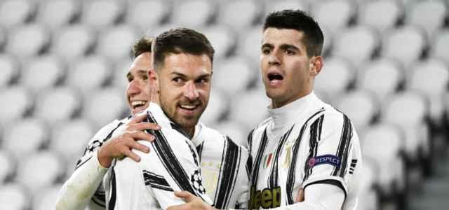Morata Ramsey Chiesa Juventus esultanza lapresse 2020 640x300