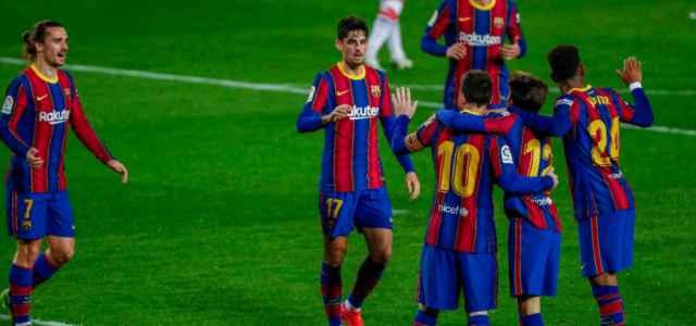 Griezmann Trincao Messi Puig Firpo Barcellona gol lapresse 2021 640x300