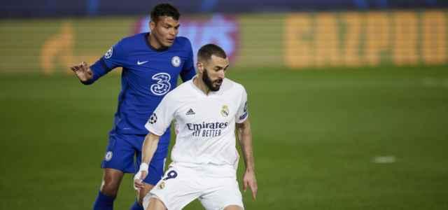Benzema Thiago Silva Real Madrid Chelsea lapresse 2021 640x300