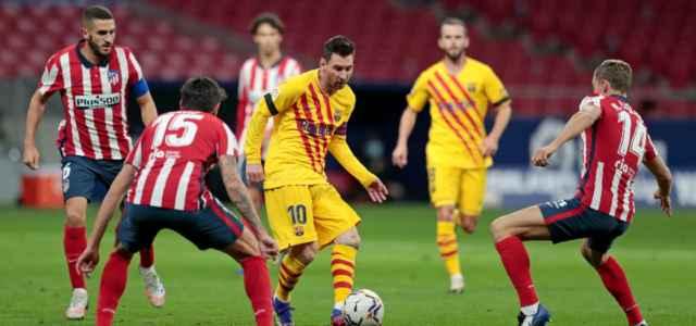 Messi circondato Atletico Madrid Barcellona lapresse 2021 640x300