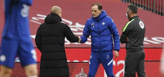 Guardiola Tuchel saluto Manchester City Chelsea lapresse 2021 640x300