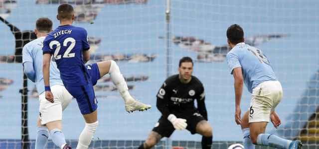 Ziyech tiro Chelsea Manchester City lapresse 2021 640x300