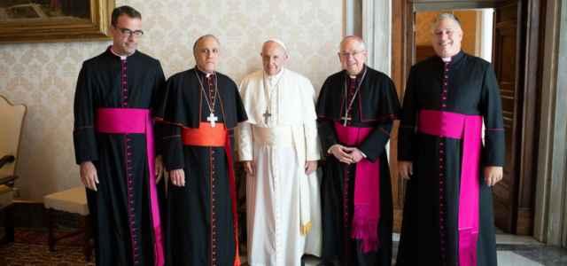 Papa con i vertici della Chiesa Usa