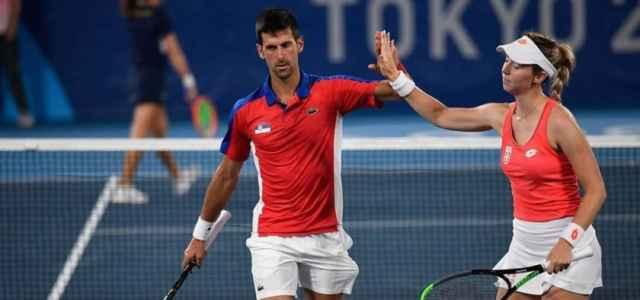 Djokovic Stojanovic Serbia doppio misto Olimpiadi facebook 2021 1 640x300