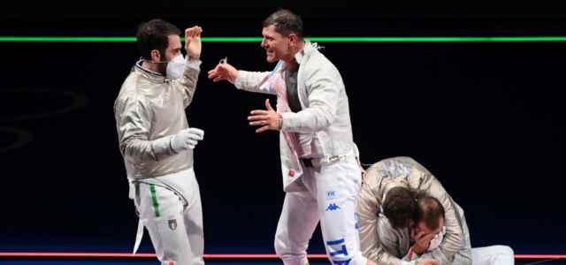 Aldo Montano esultanza sciabola Olimpiadi lapresse 2021 640x300